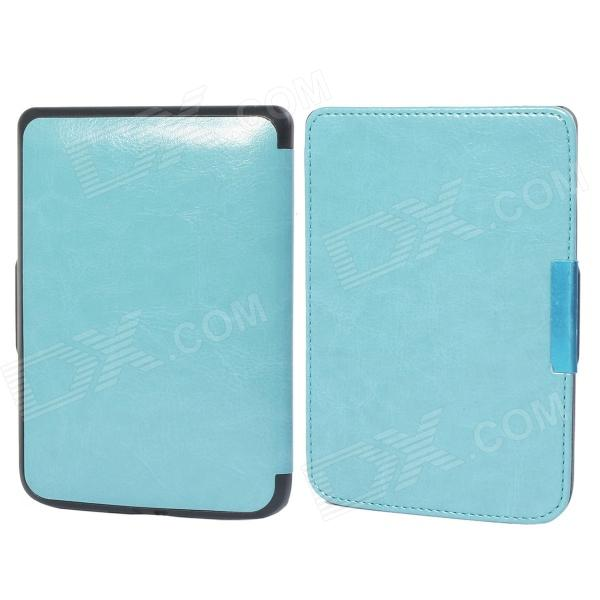 Protective PU Leather Flip Case Cover for POCKETBOOK 515 - Light Blue