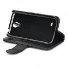 Protective PU Leather Flip-open Case w/ Holder / Card Slot for Samsung Galaxy S4 Mini i9190 - Black