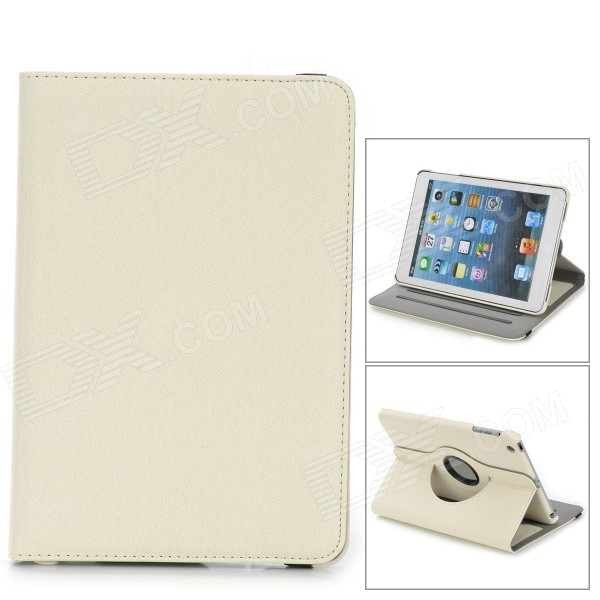 360 Degree Rotation PU Leather Case w/ Auto Sleep for Ipad MINI / Retina Ipad MINI - Beige for ipad mini 1 2 3 matte litchi soft pu artificial leather case magnetic sleep wake up flip cover case retina