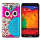 Cartoon Owl Style Protective PC Back Case for Samsung Galaxy Note 3 N9000 - Deep Pink + Blue
