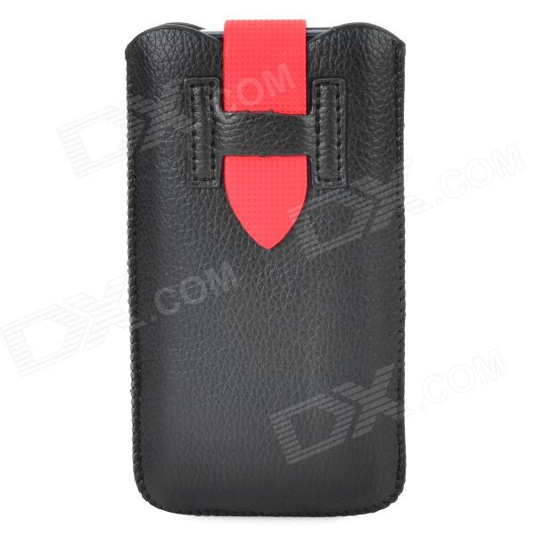 Protective PU Leather Pouch Pouch Bag w/ Buckle for Iphone 5 / 5s / 5c - Black + Red protective pu leather bag pouch with for iphone 5 blue white