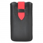 Protective PU Leather Pouch Pouch Bag w/ Buckle for Iphone 5 / 5s / 5c - Black + Red