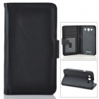 Protective PU Leather Case w/ Card Holder Slots for Samsung Galaxy S3 i9300 - Black