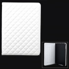 Checked Style Protective PU Leather + Plastic Case w/ Auto Sleep for Ipad AIR - White