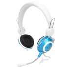 Gorsun GS-A826MV Wired Gaming Voice Headphone Headset w/ Mic - White + Blue