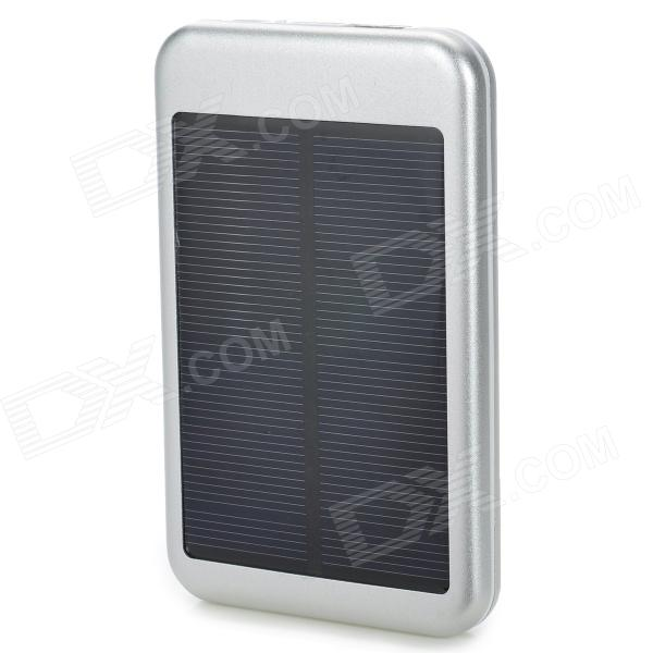 S-What DS-6000T Solar Energy Powered 5000mAh Charger Power Bank for Iphone / Ipod / Samsung - Silver jc4w60 foldable 5000mah solar powered external battery power bank white black