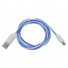 USB to Micro USB Data/Charging Cable for Samsung / HTC + More - White + Blue