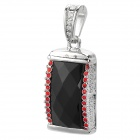 SZ-8 Keyring Zinc Alloy + Rhinestones USB 2.0 Flash Drive - Red + Silver + Black (32GB)