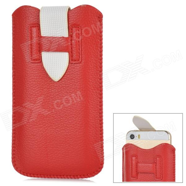 ipS-5 Universal Protective PU Leather Pouch Bag for Iphone 5 / 5c / 5s - Red + White protective pu leather bag pouch with for iphone 5 blue white