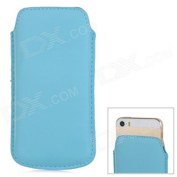 IPS-5 Proteção PU Leather Bag Bolsa para iPhone 5 / 5s - Blue Light