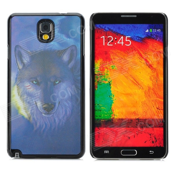 3D Snow Wolf Style Protective Back Case for Samsung Galaxy Note 3 - Dark Blue + Black cute 3d girl style protective silicone back case for samsung galaxy note 3 n9000 green