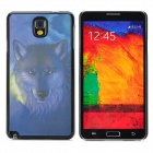 3D Snow Wolf Style Protective Back Case for Samsung Galaxy Note 3 - Dark Blue + Black