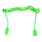 USB 2.0 Male to Female Spring Extension Cable - Grass Green (115cm)