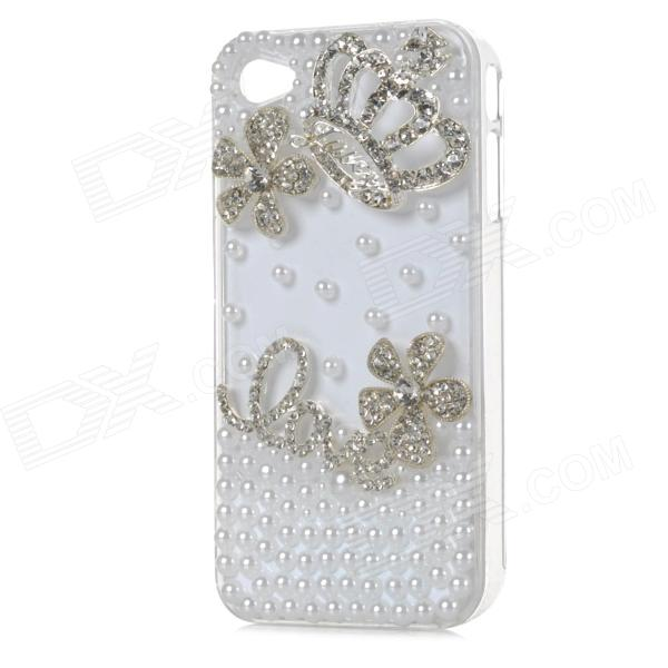S-What Fashion Protective PC Jewel Encrusted Back Case for Iphone 4 / Iphone 4S - White + Silver detectable 8x telescope w tripod back case for iphone 4 4s white silver black