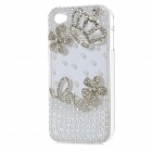 S-What Fashion Protective PC Jewel Encrusted Back Case for Iphone 4 / Iphone 4S - White + Silver