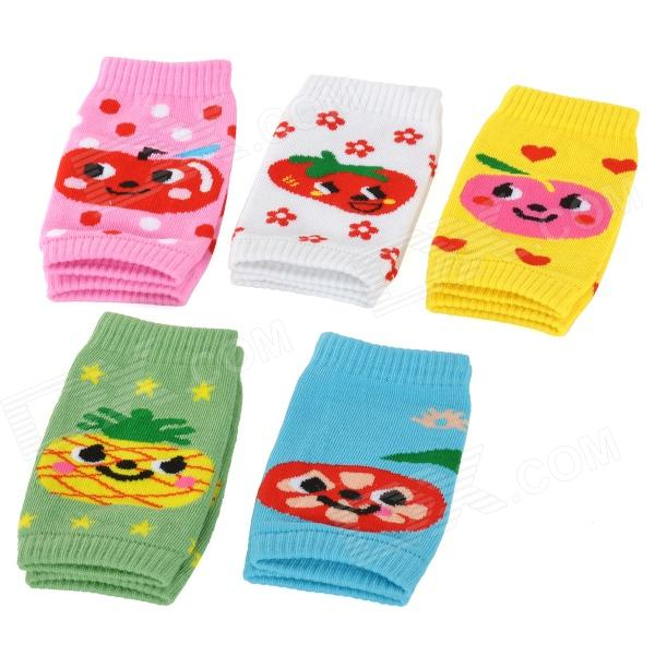 Cute Cartoon Pattern Baby Crawling Warmers Knee Protectors - Pink + White + Yellow + Blue (5 Pairs)