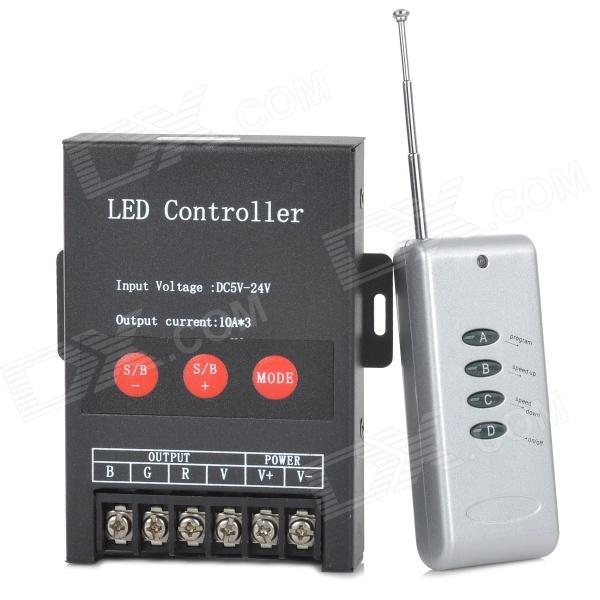 Aluminum Alloy 30A LED RGB Controller w/ Remote Control - Black + Antique Silver (DC 5~24V) 1004p aluminum alloy low voltage power lighting surge protection devices black silver 12 24v