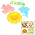 Cute Rabbit + Dolphin Shaped  Polypropylene Rice Mould - Blue + Pink (4 PCS)