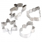 Christmas Shaped Stainless Steel Cake / Biscuit / Toast Food Mold - Silver (4PCS)