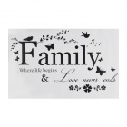 Simple Modern Pattern Family Wall Sticker - Black (116 x 53cm)