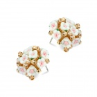 EQute EOTW1C1 Beautiful White Rhinestones Flower-shaped Ear Studs - White