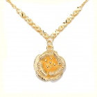 KCCHSTAR High-Quality Fine Copper Electroplating 24K Gold Double-Petal Pendant Necklace