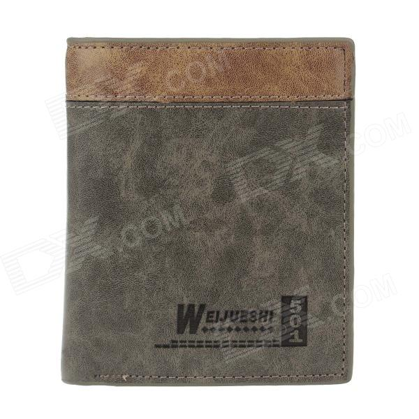 WEIJUESHI 802A123-2# Color Matching Short PU Leather Wallet for Man - Army Green + Brown