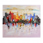 Iarts DXA112021 HAnd-painted Cityscape Canvas Oil Painting Artwork - Multicolored