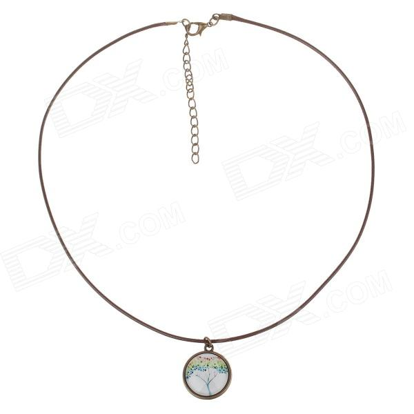 Fashionable Tree Pattern PU Leather + Zinc Alloy Women's Necklace - Brown + White
