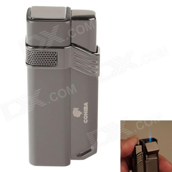 COHIBA H063B Fashionable Super Fire Windproof Butane Jet Flame Lighter - Black + Grey