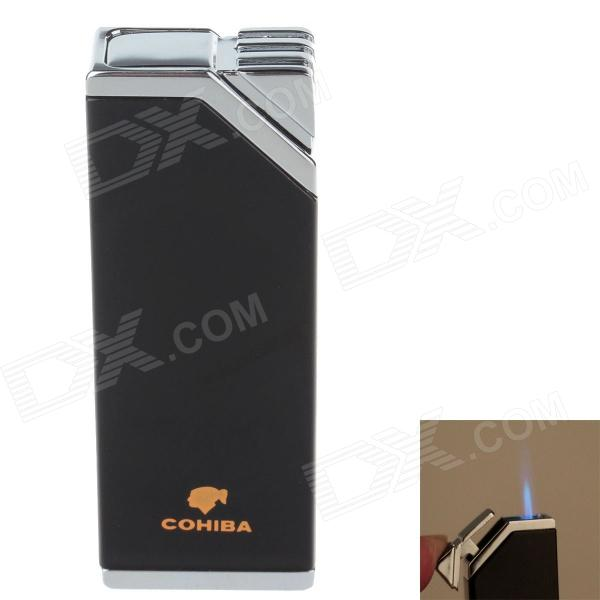 COHIBA H026B Super Fire Windproof Butane Jet Flame Lighter - Black + Silver cohiba 6499 mini portable hair dryer style jet flame strong fire windproof refillable lighter pink