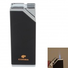 COHIBA H026B Super Fire Windproof Butane Jet Flame Lighter - Black + Silver