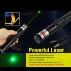 Green Laser Pointer Pen 532nm Adjustable Beam + Charger - Black