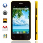 "KICCY MTK6572 Dual-Core Android 4.2 WCDMA Bar Phone w/ 4.0"" IPS, Wi-Fi, GPS, ROM 4GB - Black Yellow"