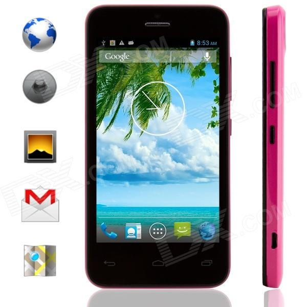 KICCY MTK6572 Dual-Core Android 4.2 WCDMA Bar Phone w/ 4.0 IPS, Wi-Fi, GPS, ROM 4GB - Black + Pink finesource g7 android 4 4 quad core wcdma bar phone w 5 5 4gb rom wi fi gps ota black