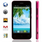 "KICCY MTK6572 Dual-Core Android 4.2 WCDMA Bar Phone w/ 4.0"" IPS, Wi-Fi, GPS, ROM 4GB - Black + Pink"
