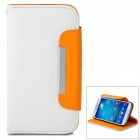 SAS-171 Protective PU Leather Case for Samsung Galaxy S4 i9500 - White + Orange
