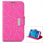 Leaves Style Protective PU Leather Case for Samsung Galaxy S4 i9500 - Deep Pink