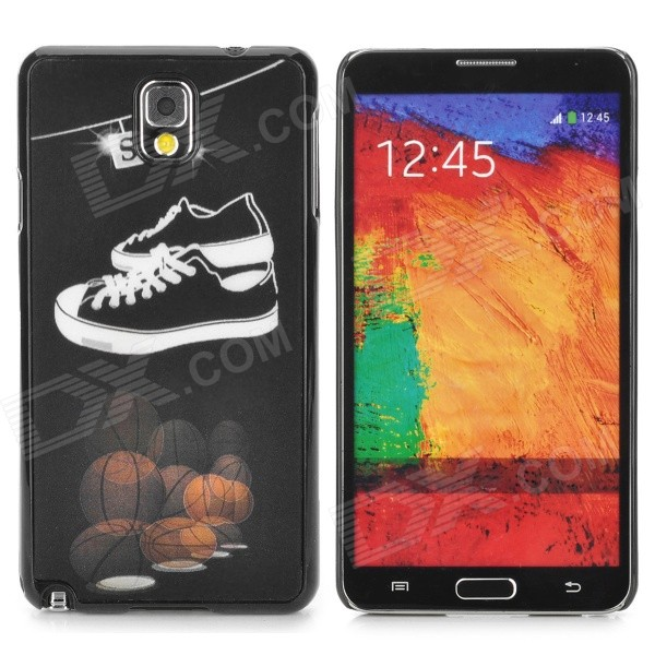 3D Basketball & Shoes Style Protective Back Case for Samsung Galaxy Note 3 - Black + White cute 3d girl style protective silicone back case for samsung galaxy note 3 n9000 green