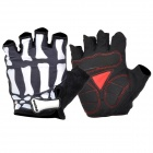 QEPAE F045 Outdoor Sports Bicycle Anti-Slip Breathable Half-Finger Gloves -Black + White (L / Pair)