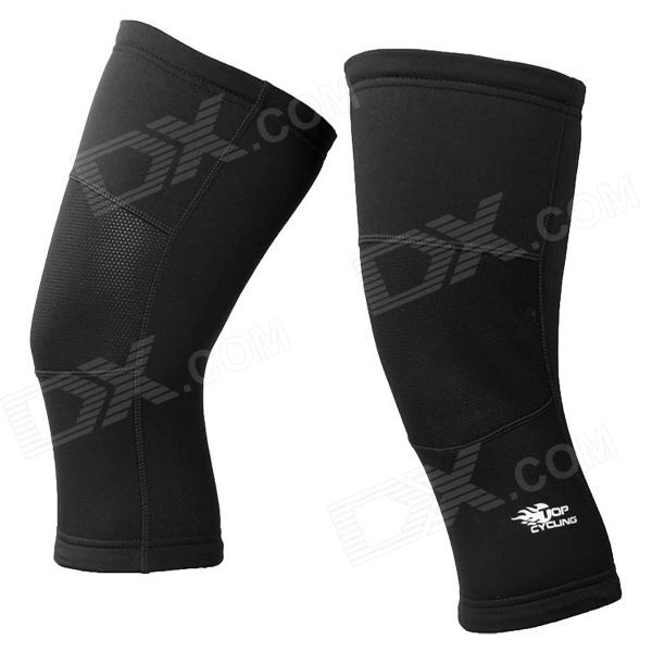 TOPCYCLING SAK1088 Outdoor Bicycle Thickened Knee Leg Warmers - Black (Size L / Pair)