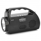 HY-S17 Portable Media Player Speaker w/ TF / USB / FM / 1-LED White Flashlight - Black
