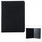 Checked Style Protective PU Leather + Plastic Case w/ Auto Sleep for iPad Air - Black