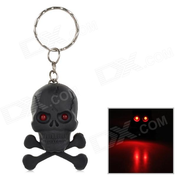 PZCD PZ-16 Skull Style Creative 2-LED Mini Red Flashlight Keychain  - Black (2 x AG3 included)