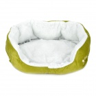 Lamb Wool + Fleece + Polyester Wadding Cotton Warm Pet House - Green (S)