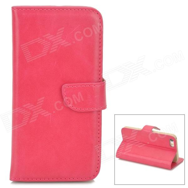 DYTI-003 Protective PU Leather + PC Case for Iphone 5 / 5s - Deep Pink ipega i5056 waterproof protective case for iphone 5 5s 5c pink