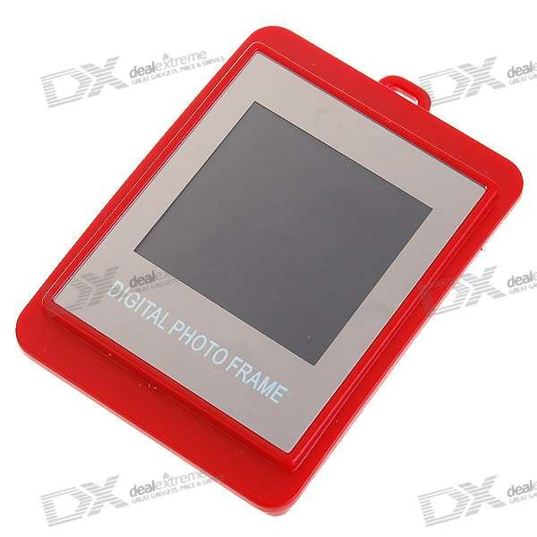 "1.5"" LCD Rechargeable Digital USB Photo Frame Keychain - Red (107-Picture Memory Storage)"