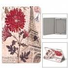 Eiffel Tower / Chrysanthemum Pattern PU Leather Case w/ Stand / Auto Sleep for Ipad AIR - Dark + Red