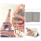 Eiffel Tower Pattern PU Leather Case w/ Stand / Auto Sleep for Ipad AIR - White + Light Yellow