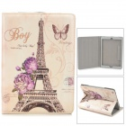 Eiffel Tower Pattern PU Leather Case w/ Stand / Auto-sleep for Ipad AIR - White + Light Yellow